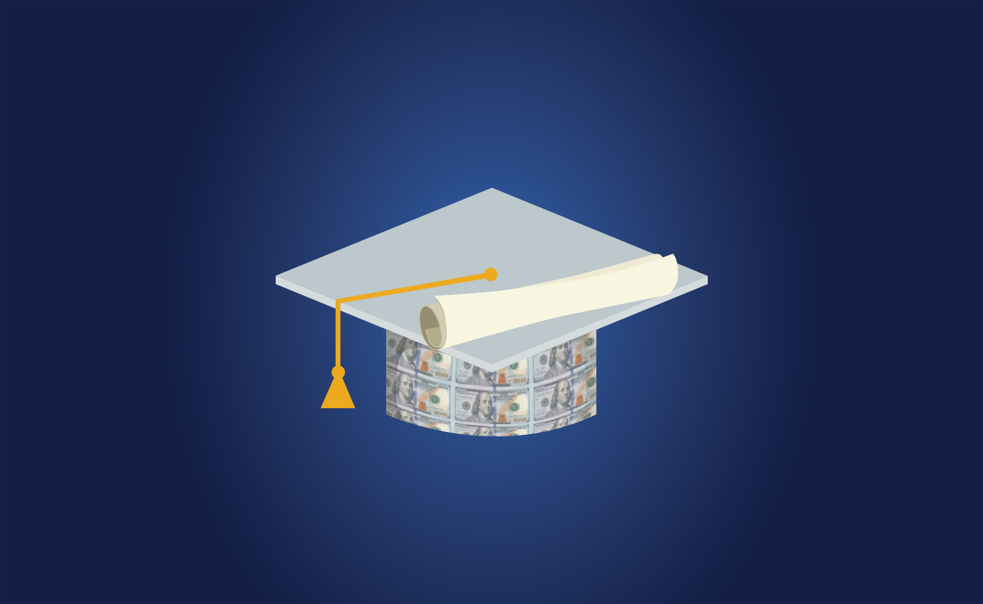 Illustration of a graduation cap with money