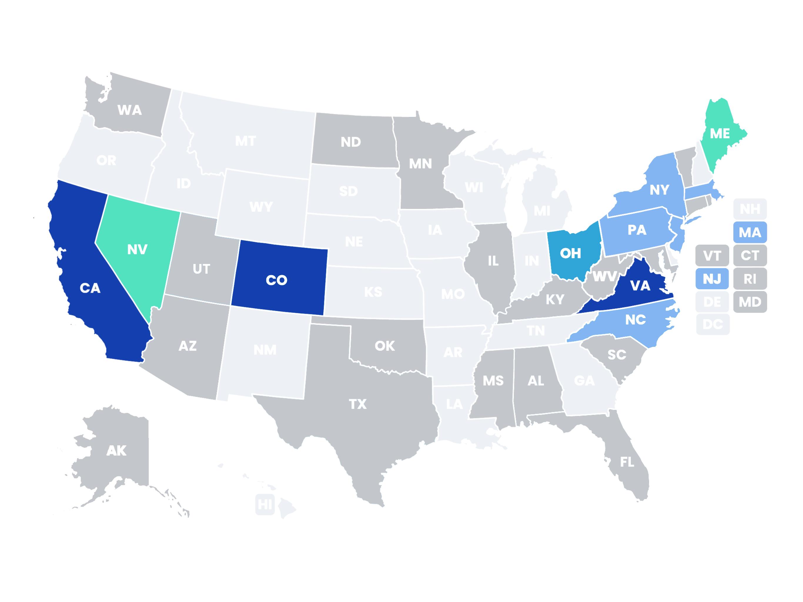 US State Data Privacy Legislation Map