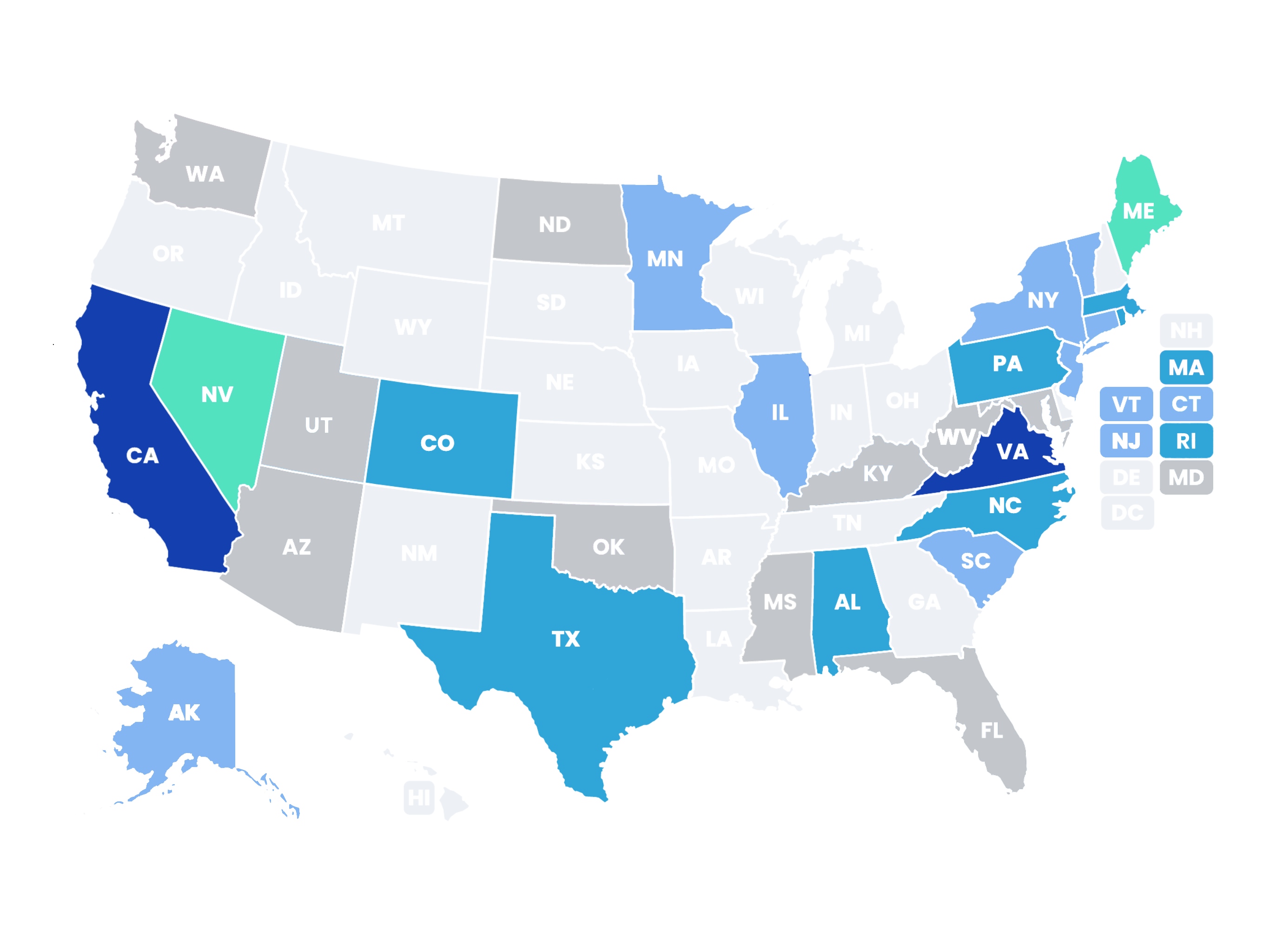 US State of data privacy legislation map