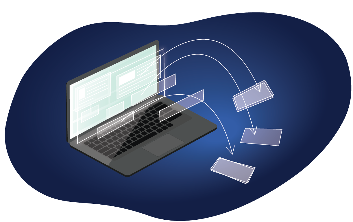 laptop illustration with data